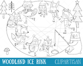 Woodland Animals Ice Rink Clip Art and Coloring Activity | Fox | Bear | Raccoon