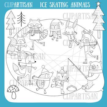 Woodland Animals Ice Skating Clip Art   Christmas Ice Rink   Winter Animals