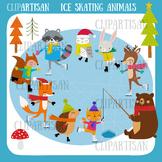 Woodland Animals Ice Skating Clip Art | Christmas Ice Rink | Winter Animals