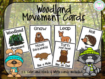Woodland Animals Movement Cards/Brain Break
