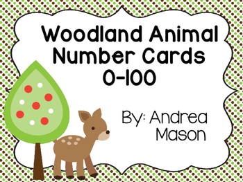 Woodland Animals Number Cards 0-100