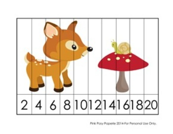 Woodland Animals Number Counting Strip Puzzles - 5 Designs