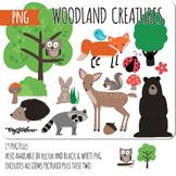 Woodland Animals PNG Clipart, PNG clip art of fox, deer, bear, raccoon, bird