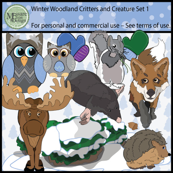 Woodland Animals Clip Art Pack 1 {Messare Clips and Design}