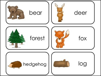 Woodland Animals Picture Word Flash Cards.