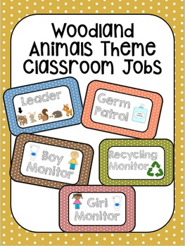 Woodland Animals Polka-Dot Classroom Jobs
