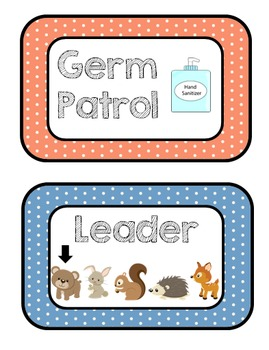 Woodland Animals Polka-Dot Classroom Jobs