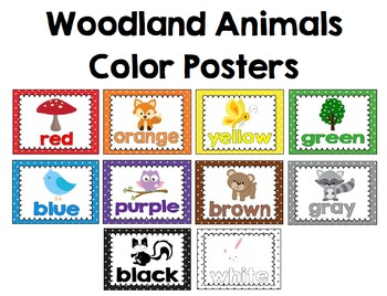 Woodland Animals Polka-Dot Color Posters