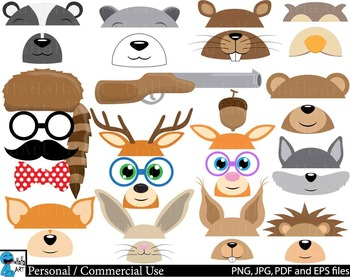 Woodland Animals Props v1 Clip Art Digital Files Personal Commercial Use cod234