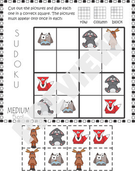Woodland Animals - Sudoku Cut and Paste Activity