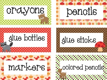Woodland Animals Theme Supply Labels