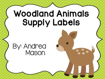 Woodland Animals Theme Supply Labels