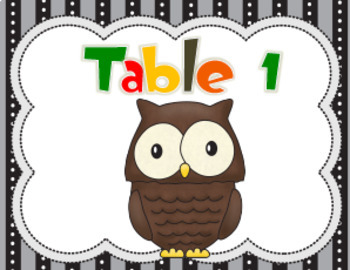 Woodland Animals Table Signs