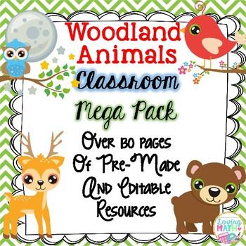 Woodland Animals Theme Classroom Decor - EDITABLE