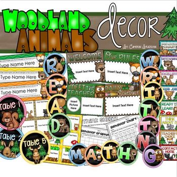 Woodland Animals Theme Classroom Decor Bundle (Behavior Chart, Labels, Signs)