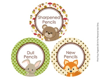 Woodland Forest Animals Theme Pencil Caddy Labels