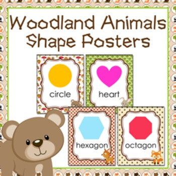 Woodland Animals Theme Shape Posters