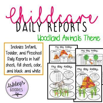 Woodland Animals Themed Childcare Daily Reports  (Daycare)