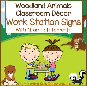 Woodland Animals Work Station Signs