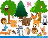 Woodland Animals clip art Teacher forest bear deer bunny tree bird snail -086-