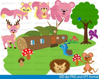 Woodland Animals clip art Teacher forest bear deer bunny tree bird snail -086-
