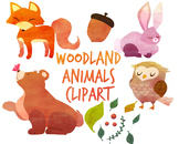 Woodland Animals clipart, fox clipart, Watercolor clipart for per