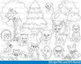 Woodland Animals outline stamp coloring line clip Teacher forest bear deer -093-