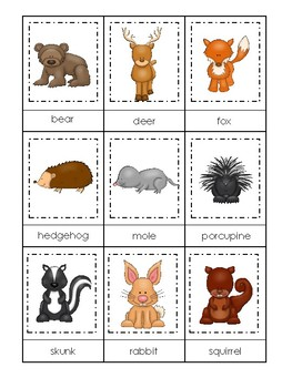 photo regarding Animal Matching Game Printable identify Woodland Pets themed 3 Element Matching Match. Printable Preschool Match