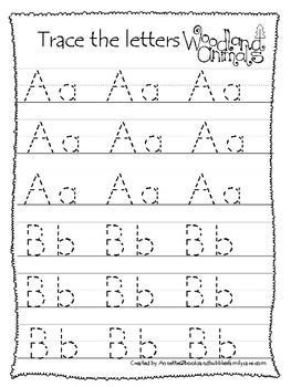 Woodland Animals themed A-Z Tracing Worksheets.  Printable Preschool Handwriting