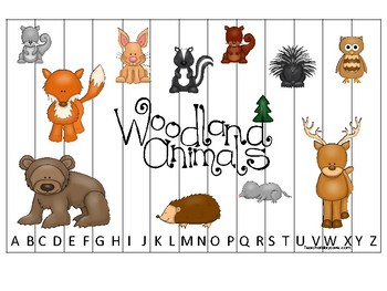 Woodland Animals themed Alphabet Sequence Puzzle Game.  Printable Preschool Game