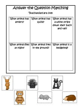 Woodland Animals themed Answer the Question Game.  Printable Preschool Game