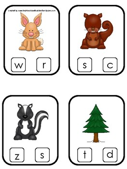 Woodland Animals themed Beginning Sounds Clip It Game.  Printable Preschool Game