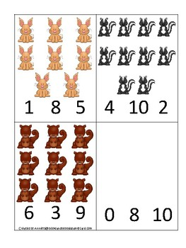 Woodland Animals themed Count and Clip Game.  Printable Preschool Game