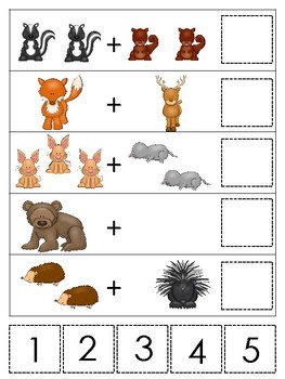 Woodland Animals themed Math Addition Game. Printable Preschool Ga