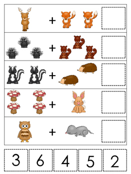 Woodland Animals themed Math Addition preschool learning game.  Daycare early ma