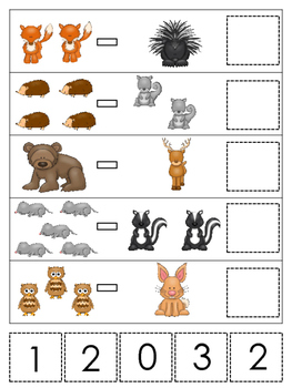Woodland Animals themed Math Subtraction preschool learning game. Daycare math