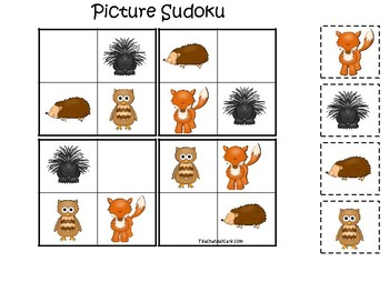 Woodland Animals themed Picture Sudoku Game. Printable Preschool Game