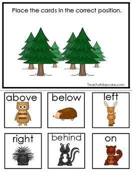 Woodland Animals themed Positional Game. Printable Preschool Game