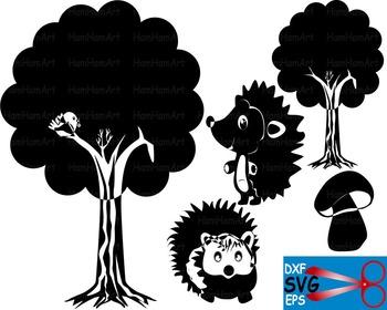 Woodland Animals tree EPS SVG DXF school reward cutting cut Logo monogram  -22S-