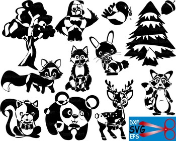 Woodland Animals tree EPS SVG DXF school reward cutting cu