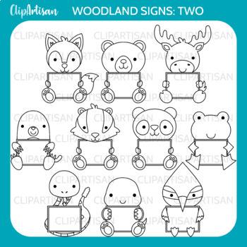 Woodland Animals with Signs Clip Art