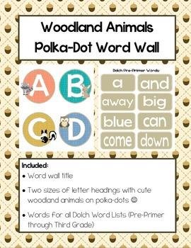 Woodland Animals Polka-Dot Word Wall (Dolch Words)