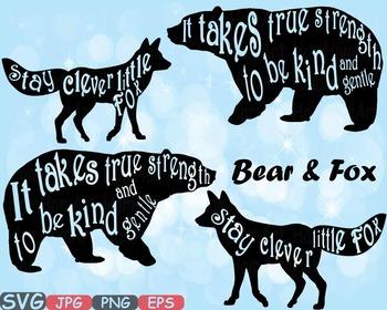 Woodland Bear & fox Stay Clever Little Fox nursery clipart