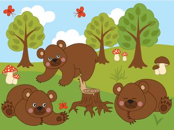 Woodland Bears Clipart - Digital Vector Bear, Mushroom, Tree, Forest Clip Art