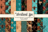 Woodland Bee Seamless Digital Paper patterns, backgrounds