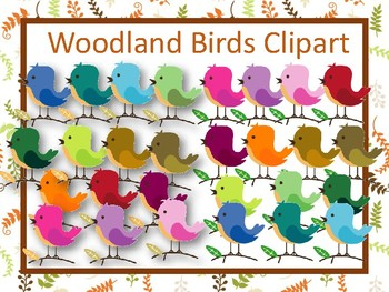 Woodland Birds clipart in a rainbow of colors- forest birds