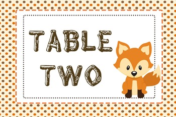Woodland / Camping Table Numbers