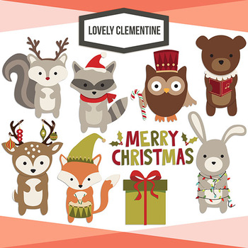 Woodland Christmas clip art images, forest animals clip art