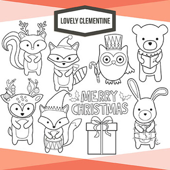 Woodland Christmas clip art images, line art digital stampsforest animals