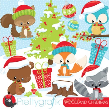 Woodland Christmas clipart commercial use, vector graphics